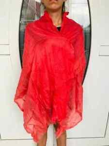 BRUNELLO CUCINELLI 100% Linen Pink Shawl Wrap Scarf Fringe Trim