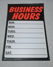 Vintage Duro Decal Business Hours Plastic Window Sign Chicago Unused Nos