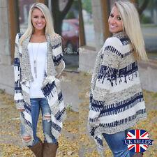 Damen gestrickt offene Strickjacke Mantel Pulli Langärmlig Schal Top Pullover UK