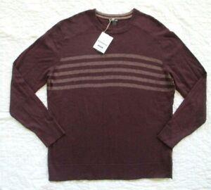 SMARTWOOL Men's Sparwood Pattern Crew Sweater Stripe Woodsmoke Heather XXL NWT