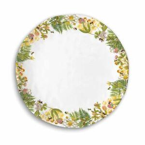 """Set / 4 Michel Design Works Melamine 11"""" Dinner Plates Honey & Clover Bees - NEW"""