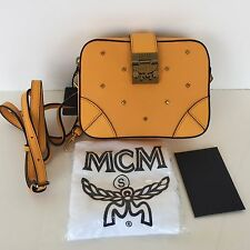 $595 NWT MCM Claudia Studded Clutch Wallet Crossbody Bag Yellow