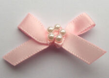10 RIBBON BOWS WITH BEADS  (Pink).