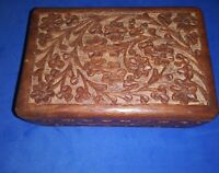 Vintage/Antique Style Wood/ Jewelry Trinket Box/Carved Ornate/Velvet Inside/Good