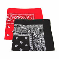 2 x Paisley Pattern Bandana Head / Neck Scarf Black & Red