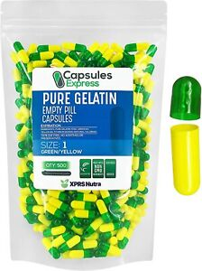 Capsules Express - Size 1 Clear Green and Yellow Empty Gelatin Capsules 500...
