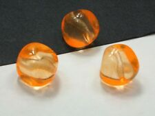3 Böhmische Glasperlen 15x14mm Orange Nuggets Tschechische Perlen #3141