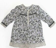 IKKS 18 Months Floral Lavender Gray Dress Ruffles Peasant  French