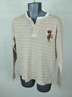 Men's U.S. POLO ASSN. Brown/White Striped Cotton Long Sleeve Polo Shirt Size L