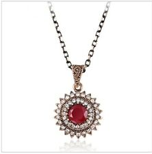 Vintage Antique Plated Sun Red Acrylic Gold-Color Chain Rhinestone Necklace-TJ
