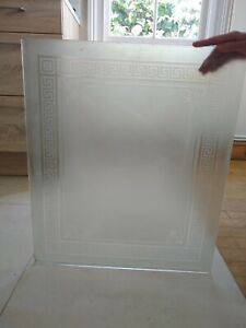 Victorian acid etched glass panel with decorative border