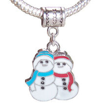 Snowman Snowmen Christmas Holiday Red Blue Dangle Charm for Euro Slide Bracelets
