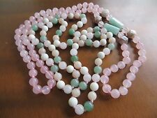 Vintage Pink Rose Quartz & Jade Jadeite Hand Knotted Lot of 2  Beaded Necklaces