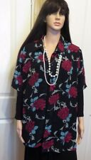 XCEPSION  black with deep pink roses Ladies blouse size XLarge made in CHINA