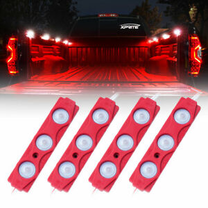 Xprite Red 4Pod 12 LED Rock Light Strips Truck Bed Pickup Decor Light Waterproof
