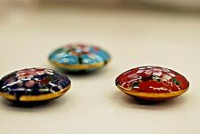 Red, Blue, and Cyan Cloisonne Pendants