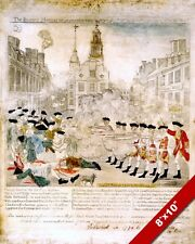 BOSTON MASSACRE PAUL REVERE NEWSPAPER AMERICAN REVOLUTION REAL CANVAS ART PRINT