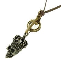 COLLIER pendentif mixte homme ou femme CUIR tête de mort skull Acier  croix