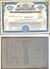 100 SHARES - Titolo Azionario della NATINAL CASH REGISTER COMPANY - 1972