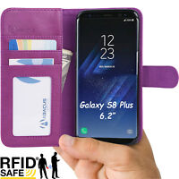 Purple RFID Blocking Flip Wallet Case Cover for Samsung Galaxy S8 Plus Phone