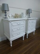 French Shabby Chic Style Bedside Cabinets - 3 Drawer Bedsides Tables in White