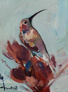 JOSE TRUJILLO Oil Painting IMPRESSIONISM Contemporary SIGNED 9X12 HUMMINGBIRD