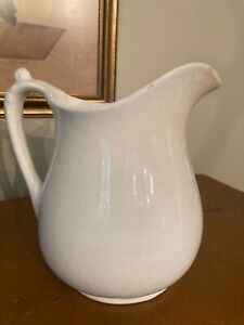 """Antique White Ironstone Milk Pitcher - Stained & Crazed Patina -7.5"""" Marked IPCo"""