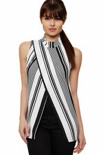 Regular Size Striped Sleeveless T-Shirts for Women