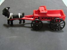 Vintage Cast Iron Goat Ram and Wagon Express Toy Horse & Buggy Black/White/Red