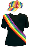 Rainbow Gay Pride Kit Sequinned Cap Hat Sash Rave Party Carnival LGBT Festival