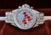 Men Fully Iced Watch Bling Rapper Simulate Diamond Metal Band Luxury Silver Red