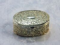 SILVER PLATED SILVERPLATE OVAL REPOUSSE TRINKET JEWELRY BOX ART NOUVEAU JAPAN