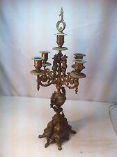 Vintage Cast Iron Victorian  5 Candelabra Brass Plated