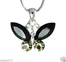 "W Swarovski Crystal BUTTERFLY Black Wings 18"" Chain Necklace Winx Gift"