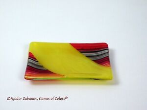 "A fused glass soap dish ""Yellow Road"""