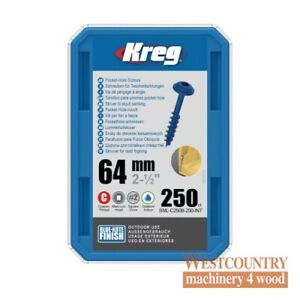 "Kreg SML-C250B-250-EUR Kreg Blue-Kote WR Pocket Hole Screws - 64mm / 2-1/2"" x 8"
