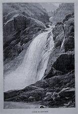 1894.Orig. Xilograf/Wood-Cut: = CASCATE DI PISSEVACHE = La  Svizzera Pittoresca.