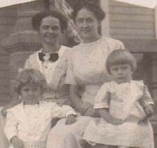 Vintage Postcard Real Photo 2 ladies and the children unusual border c 1904-1918