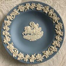 "Wedgwood Blue Jasperware Small Greek God Chariot Ring Dish Plate 4 3/8"""