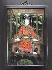 Antique Chinese Painting Reverse Painted Glass Empress Imperial Queen Robed LGE