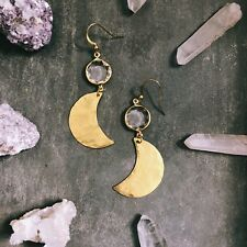 Anthropologie Moon & Crystal Star Earrings Gold Plated Hooks Hammered Brass
