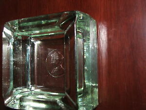 Vintage ASHTRAY KING & QUEEN HEADS HEAVY GLASS rare ash tray