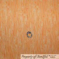 BonEful Fabric FQ Cotton Quilt Orange White Barn Wood Grain Texture Cabin Stripe