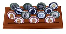 DECOMIL Military Collectible Challenge Coin Holder (Medium, 4 Rows) Solid Walnut