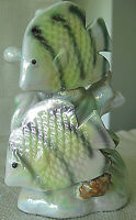 "Unique Pearlized Ceramic Tropical Fish Figurine, 5"" Tall, Iridescent Colors"