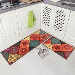 Carvapet 2 Pieces Non-Slip Kitchen Rug For Doorway Bath BOHO Style 15x47 & 15x23
