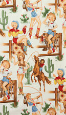 Alexander Henry Back In The Saddle Cowgirl Natural Fabric