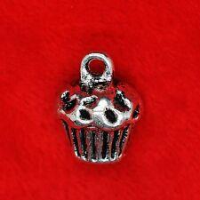 3 x Tibetan Silver 3D Cupcake Muffin Charm Pendant Finding Beading Making