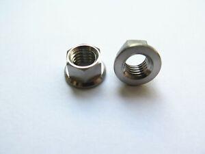 Customized 2PC Titanium M8 Flange Nut M8 x 1.25mm pitch Hex 10mm