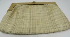 Vintage Natural Color Fabric Snap Clutch women bag.